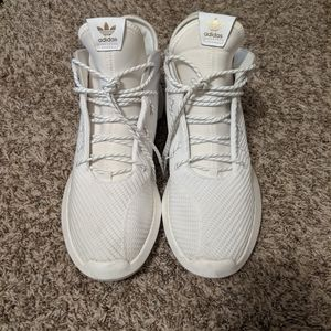 Men's White Adidas Sneakers with Gold Trim 13